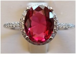 Genuine 4ct Ruby & White Sapphire Ring Size 8
